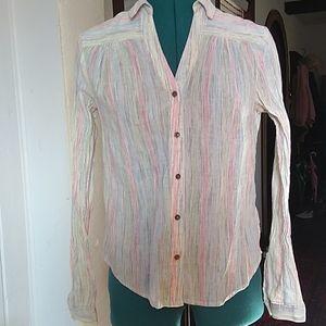 Anthropologie Striped Cotton Blouse